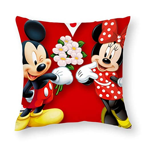 TANGHAA Felpa Corta Minnie Mouse Mickey Cojín Cuadrado ...