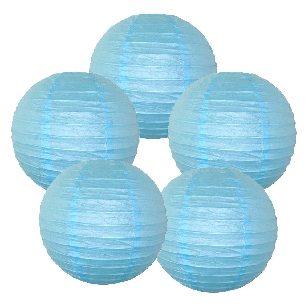 Just Artifacts ペーパーランタン5点セット - (6インチ - 24インチ) 12inch ブルー B01M2DDS6X 12inch|スカイブルー スカイブルー 12inch