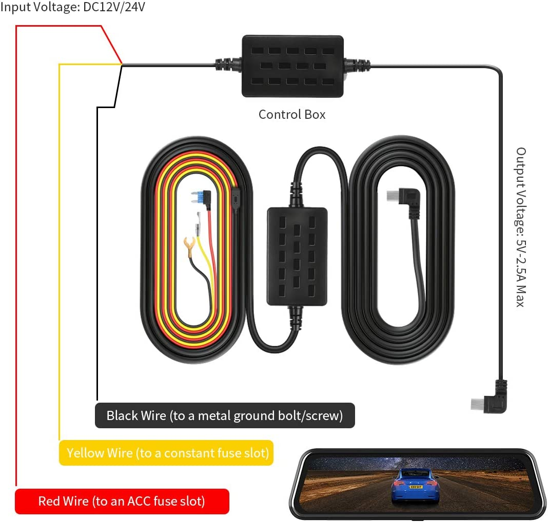 Low Voltage Protection for Dash Cameras VanTop V9H Dash Cam Hardwire Kit 11.5ft Mini USB Hard Wire Kit for Dashcam Converts 12V-24V to 5V//2.5A w//Fuse Kit and Installation Tool