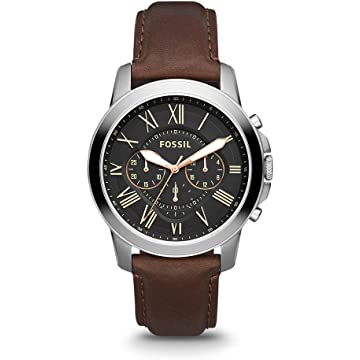 Fossil Mens Grant Stainless Steel and Leather Chronograph Quartz Watch