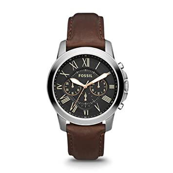 562ff4bf6 Amazon.com: Fossil Men's Grant Quartz Stainless Steel and Leather  Chronograph Watch, Color: Silver, Brown (Model: FS4813IE): Fossil: Watches