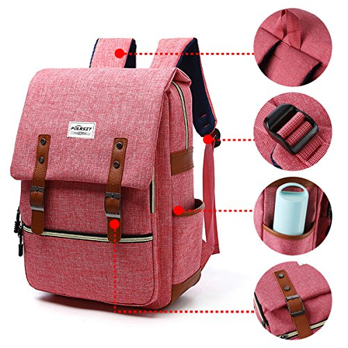Puersit 15Inch Vintage Backpack for Laptop Canvas Backpack (Red)
