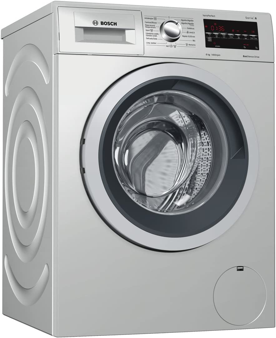 Bosch Serie 6 WAT2849XES Independiente Carga frontal 8kg 1400RPM A+++ Acero inoxidable - Lavadora (Independiente, Carga frontal, Acero inoxidable, Giratorio, Tocar, Izquierda, LED)