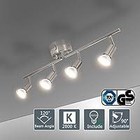 Bojim Plafonnier LED 4 Spots Orientables, 4 X 6W Ampouble GU10, Blanc Chaud, Nikel Mat, Applique Plafond, 230V, Eq.54W, 600lm Non Dimmable