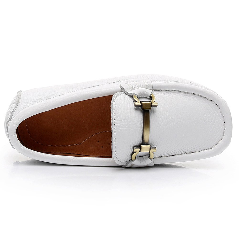 Shenn Boys Girls Slip On Buckle Dress Top Quality leather Loafers Shoes 8771K