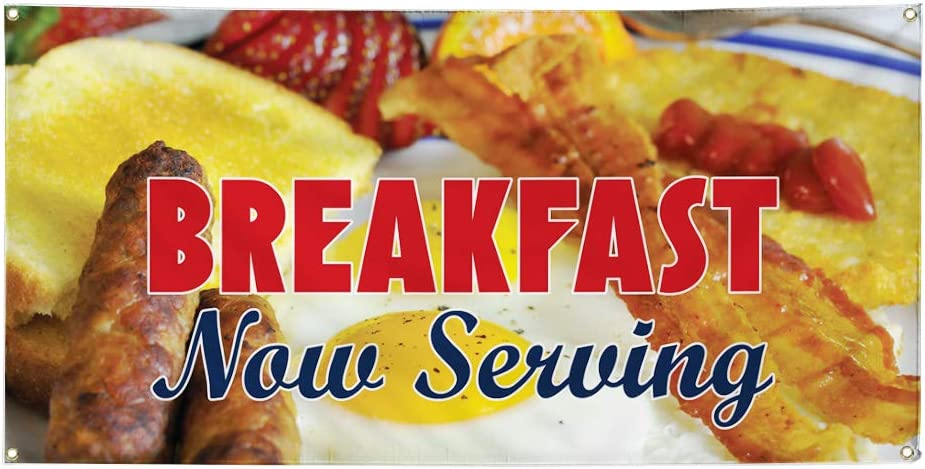 Vinyl Banner Multiple Sizes Now Serving Breakfast Advertising Printing H Business Outdoor Weatherproof Industrial Yard Signs Golden 10 Grommets 60x144Inches