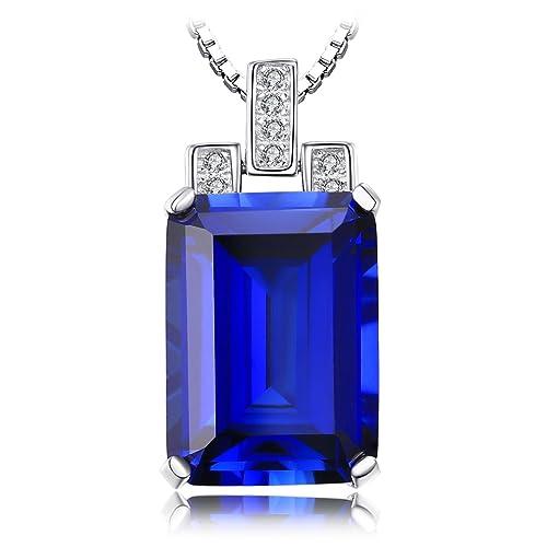 JewelryPalace 9.14ct Elégant Collier Pendentif Femme en Saphir de Synthèse Bleu une Chaîne en Argent Sterling 925 45cm