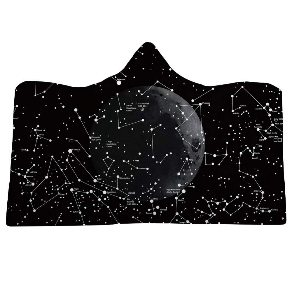Novobey フード付きブランケット 3D Galaxy Sky with Moon プリント スーパーソフトシェルパフリースブランケット (子供用 50インチ x 60インチ) Adults - 60 x 80 inch Novbe-H-0103 B07KVSLHV7 Type M Adults - 60 x 80 inch