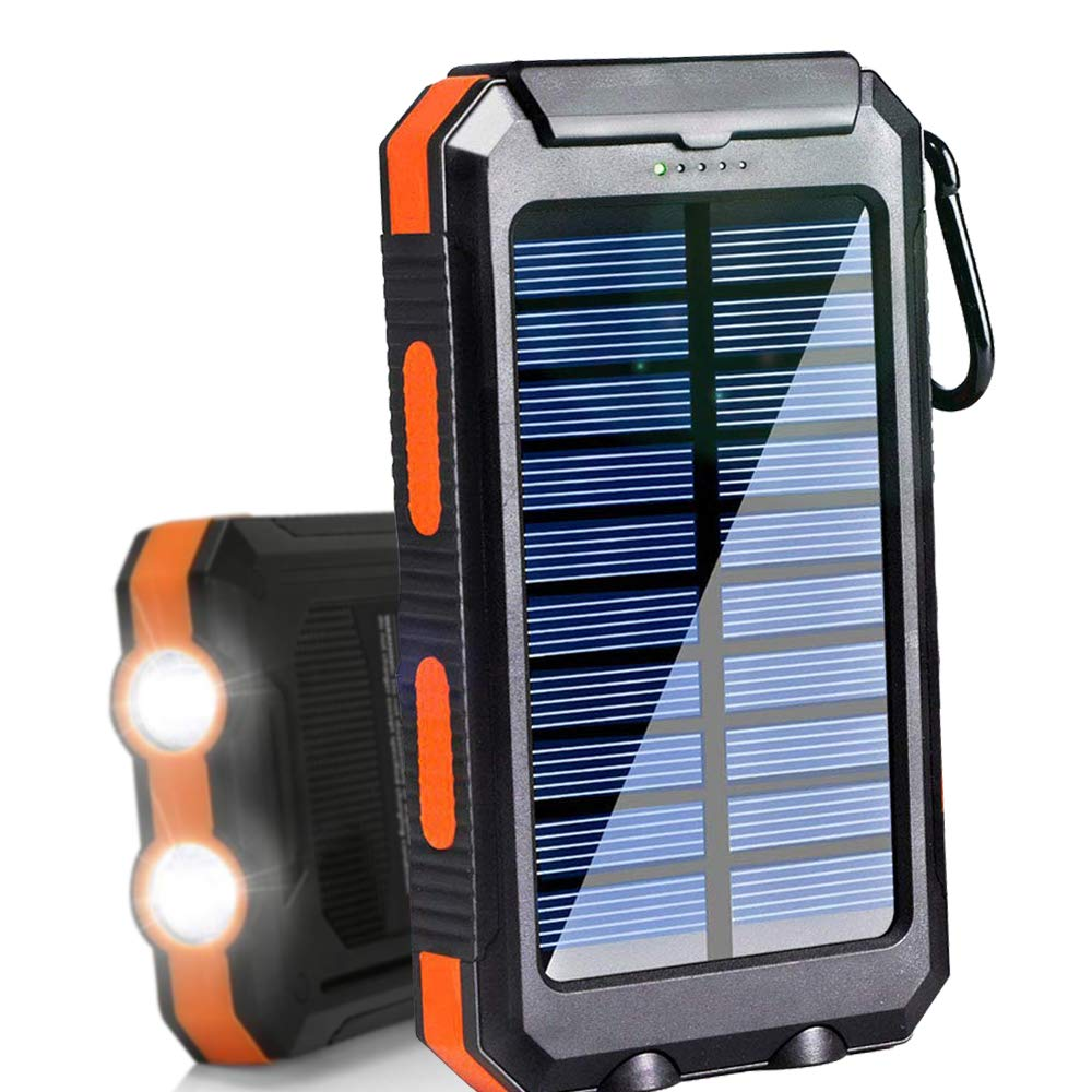 Solar Charger 20000mAh Portable Outdoor Waterproof Mobile Power Bank, Backpack Camping External Backup Battery Pack Dual USB with 2 LED Flashlight ...
