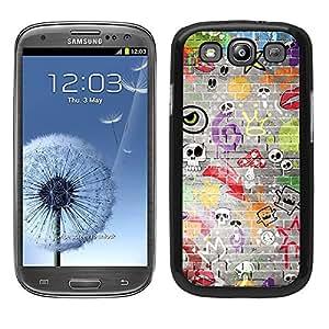 Funda carcasa TPU Gel para Samsung Galaxy S3 diseño estampado pared calaveras borde negro