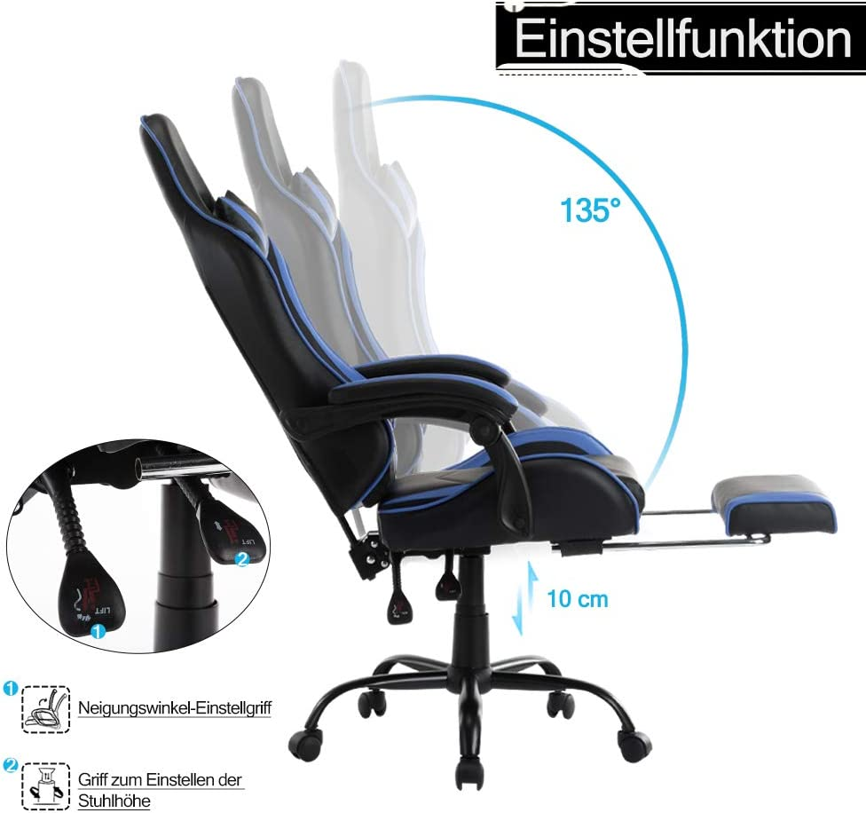 Type A, Blau Froadp PU Gamingstuhl Racing Stuhl H/öhenverstellbar Chefsessel B/ürostuhl 360/° Drehstuhl Liegesitz mit Armlehnen und Wippfunktion Ergonomisch Schreibtischstuhl