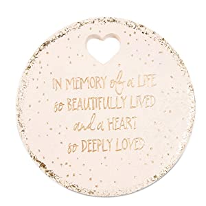 "Pavilion Gift Company 22213 in Memory of A Life So Beautifully Live and A Heart So Deeply Loved-10 Inch Weather Proof 10"" Garden Stone, Round, Beige"