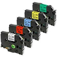 5x Ruban pour étiqueteuse Compatible avec Brother TZe-231 /431/531/631/731, 12mm x 8m, Cassette pour Brother P-Touch PT-1000 PT-1010R PT-1090 PT-2030VP PT-2430PC PT-E100 PT-H110 PT-D210 PT-D400 PT-D600VP