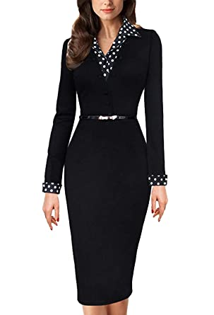 dc9c78e71f2 Minetom Femmes Polka Dot Patchwork Turn Down Collar Bureau des Affaires  Cocktail Party Robe avec Ceinture