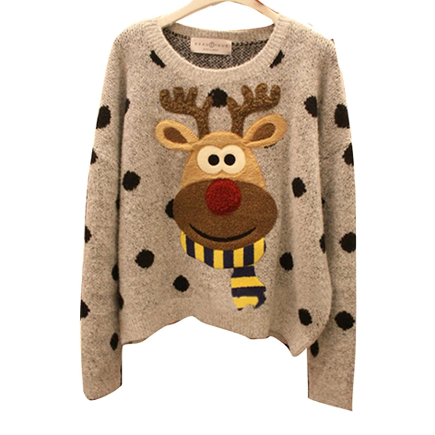 Annisking Womens Christmas Sweater Reindeer Jumper Loose Pullover Gray -10C01