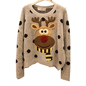 Annisking Womens Christmas Sweater Reindeer Jumper Loose Pullover Gray L -10C01