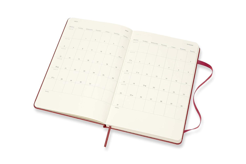 Moleskine - Agenda semanal horizontal de 18 meses, académica 2019/2020 con tapa dura y goma elástica, color rojo escarlata, tamaño grande 13 x 21 cm, ...