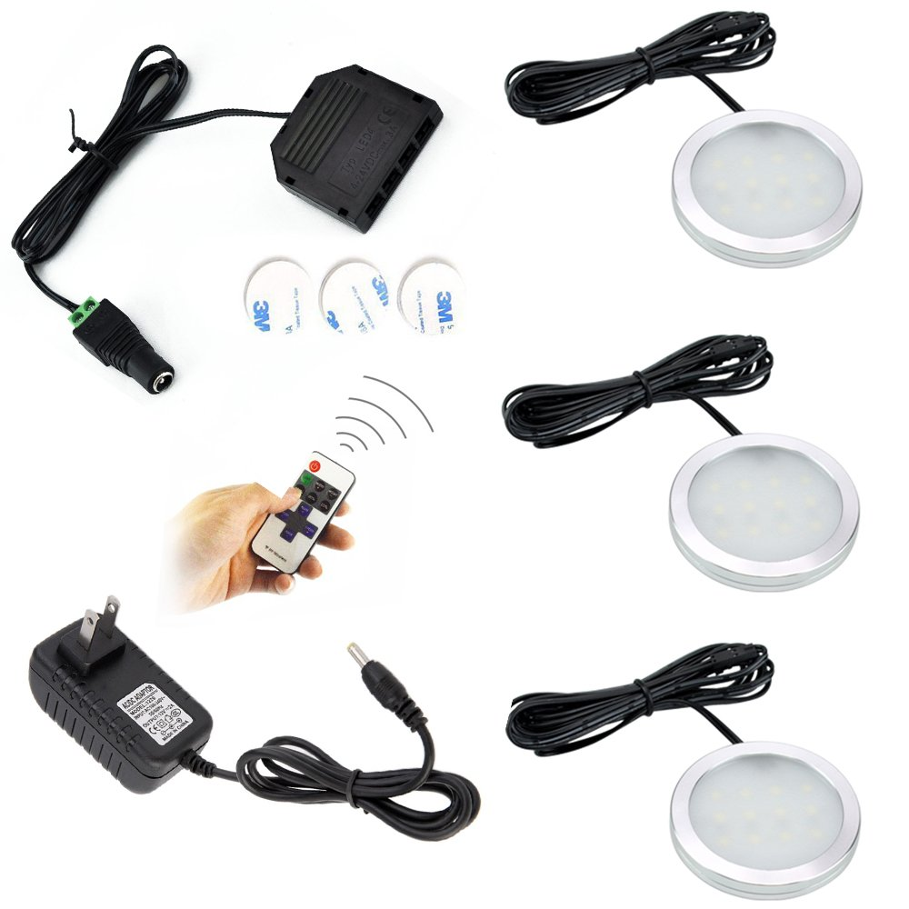 Dimmable LED Under Cabinet Puck Lights AIBOO 3 Lamps Kit with RF Remote Control for Home Kitchen Counter Lighting (Warm white 3000K)