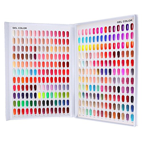 Nail Color Chart Display, Nail Gel Polish Display Nail Practice Design Board, Nail Swatch Book Display Nail Art for Nail Salons, DIY Nail Art at Home(308 Colors)