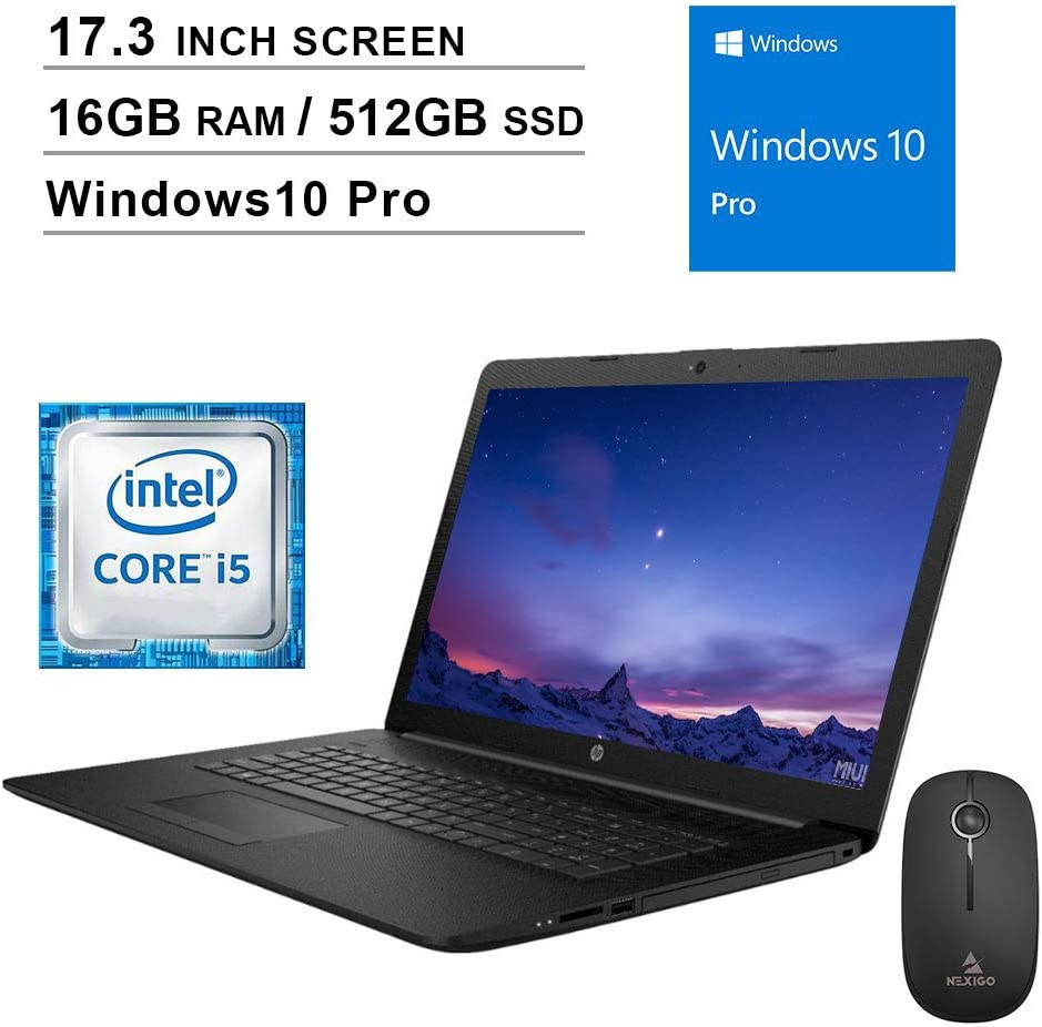 2020 Newest HP Pavilion 17.3 Inch Laptop (Intel Quad-Core i5-8265U up to 3.9 GHz, 16GB DDR4 RAM, 512GB SSD, WiFi, Bluetooth, HDMI, Webcam, DVD, Windows 10 Pro) (Black) + NexiGo Wireless Mouse Bundle
