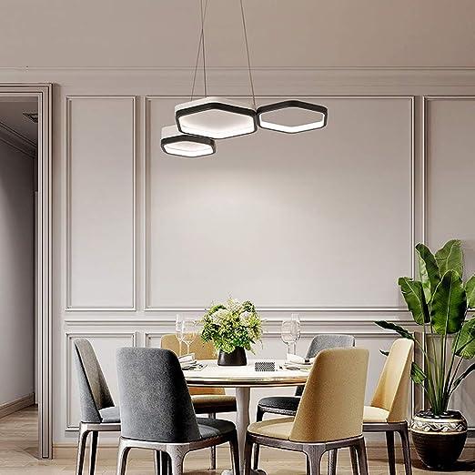 HYLH Diseñador Moderno LED Lámpara Colgante Mesa Comedor Sala Estar Dormitorio Lámpara Colgante Geometría Anillos Diseño Lámpara Colgante Lámpara Colgante acrílico y Aluminio Lámpara Oficina creativ: Amazon.es: Hogar