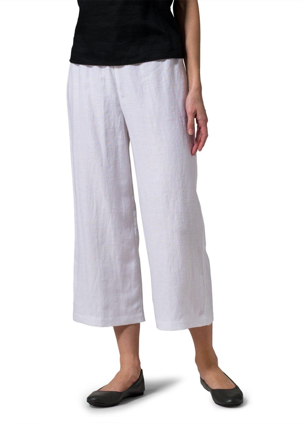 Vivid Linen Wide-Leg Cropped Pants-2X-White