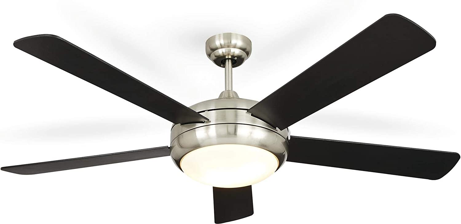 NOMA Ceiling Fan with Light Dimmable Ceiling Fan with Remote Black Finish, Nickel, 52-Inch