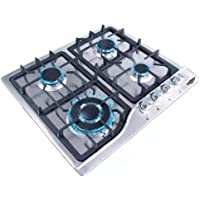 Just Home Parrilla de Gas (Natural o LP) Empotrable 4 Quemadores Acero Inoxidable Estufa para Cocina Encendido…