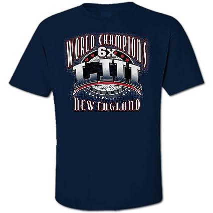 New England 6X Time World Champions LIII Football Champs Navy Blue T-Shirt  (Medium a77480520