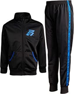 Pro Athlete Boys' 2-Piece Athletic Tricot Jogger Pant Set, Black/Blue, Size 5/6'