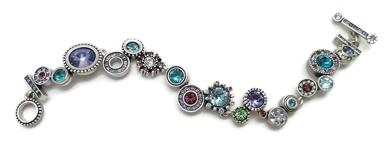 Patricia Locke Waterlily Multi Color Snake Charmer Swarovski Crystal Silver Plated Bracelet