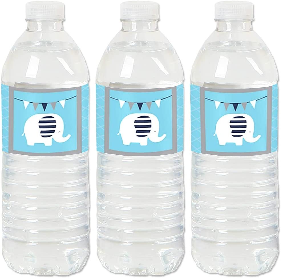 Blue Elephant - Boy Baby Shower or Birthday Party Water Bottle Sticker Labels - Set of 20