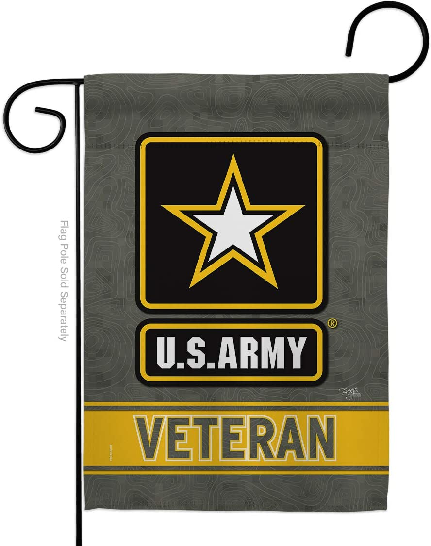 Breeze Decor US Army Veteran Garden Flag Armed Forces Rangers United State American Military Retire Official Small Decorative Gift Yard House Banner Double-Sided Made in USA 13 X 18.5