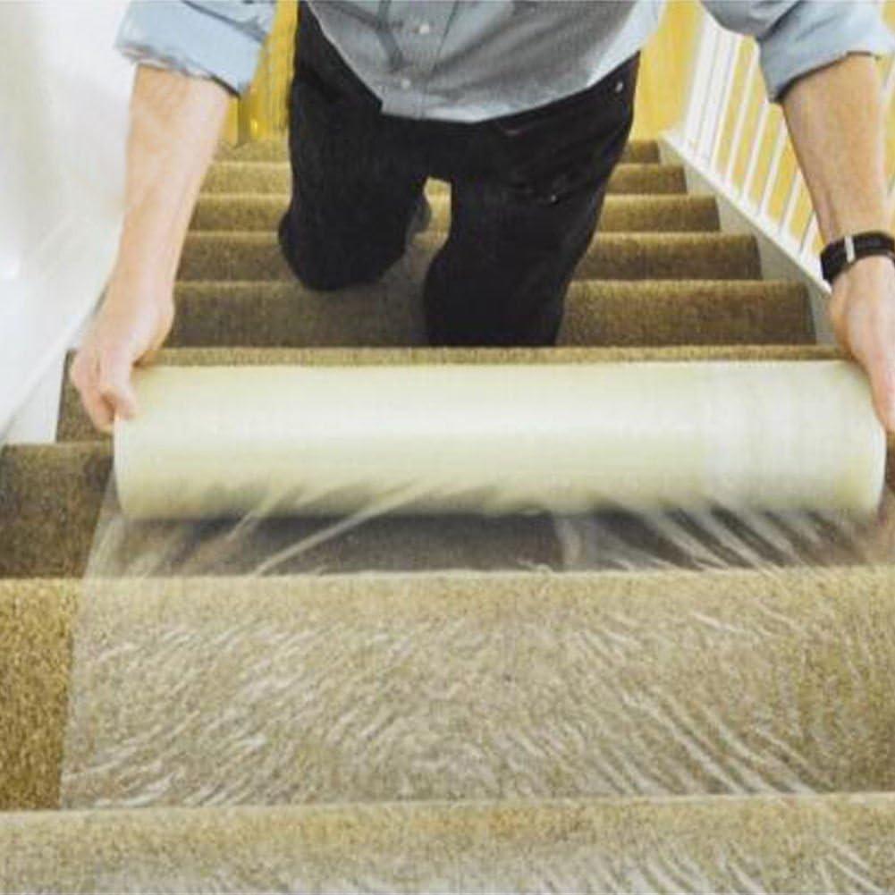 Film protector adhesivo de polietileno para moqueta resistente al agua y a los pinchazos, para suelos y escaleras, rollo de 60 cm x 100 m: Amazon.es: Hogar