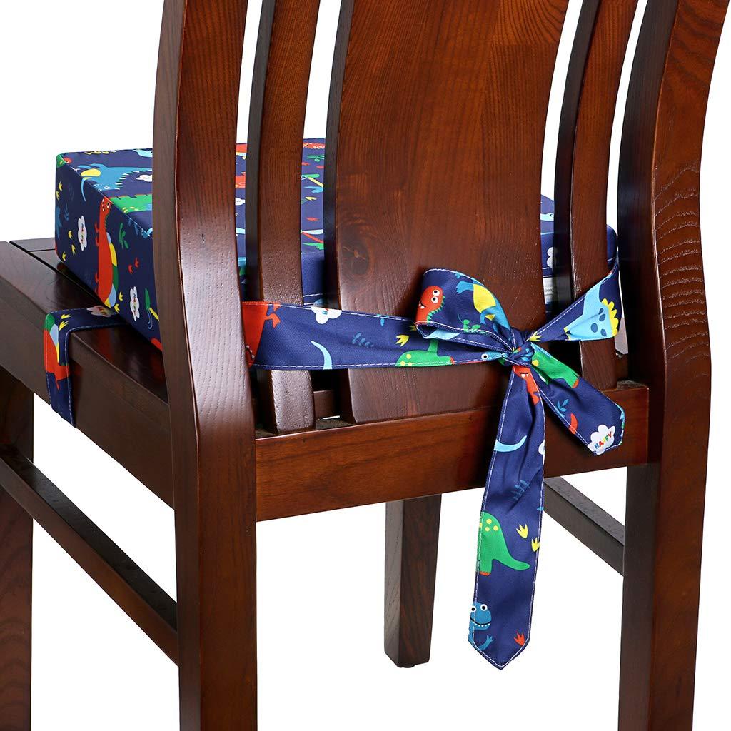 BTSKY coj/ín para aumentar la silla con patr/ón de animales White Dinosaur Asiento elevador ajustable y lavable para beb/é con correas para silla de comedor