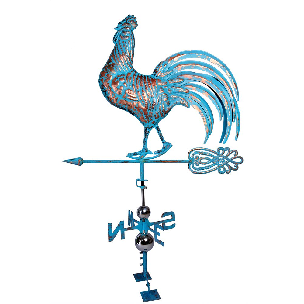 IORMAN Original Swaggering Rooster Weathervane 3D Handmade Aged Craft Garden Roof Decor Ornaments