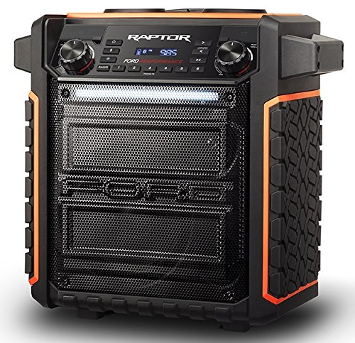 ION Audio Raptor | Portable Wireless Speaker 100-watt Water-Resistant with Bluetooth Streaming, 75-hour Rechargeable Battery, AM/FM Radio and Multi-Color Light Bar