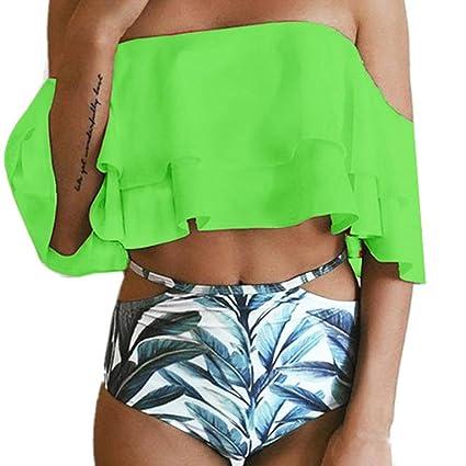 Sonnena sexy estampado floral bikini mujer de dos piezas,hombros planos cintura alta traje de