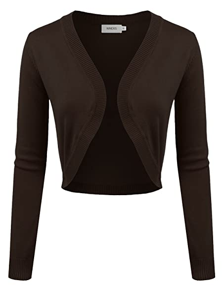 NINEXIS Women's Long Sleeve Cropped Bolero Open Front Cardigan at ...