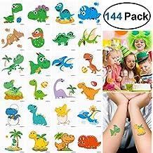 "Unomor 144PCS Dinosaur Temporary Tattoos for Boys, Dinosaur Party Supplies, Kids Boys Birthday Party Favors--24Patterns (2""X2"")"