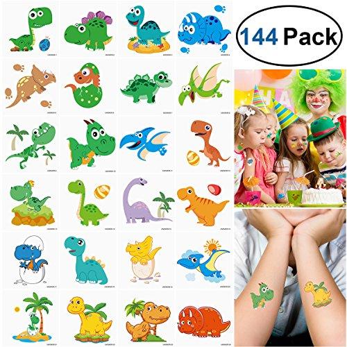 Unomor 144PCS Dinosaur Temporary Tattoos for Kids Boys