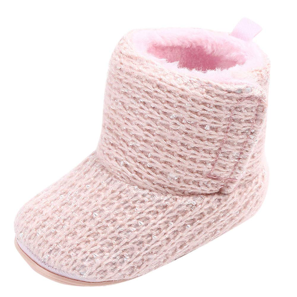 OCEAN-STORE Cute Baby Girls 0-15 Months Newborn Infant Baby Warm Boots First Walkers Toddler Shoes Pink