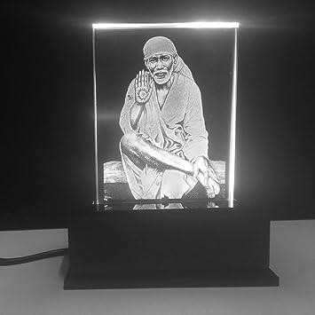 Gondget Glass God Saibaba Car Dashboard Idol With Lights White