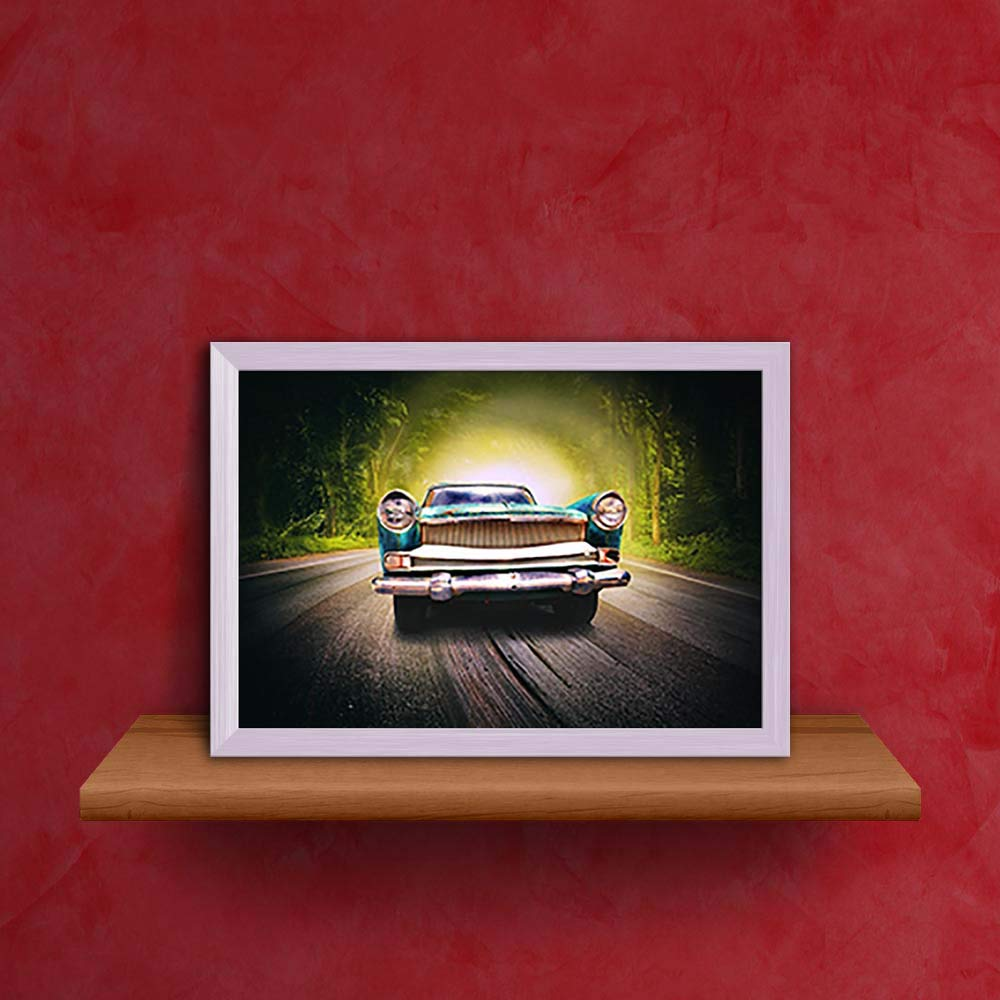 Artzfolio Old Car On The Magic Road Tabletop Painting White