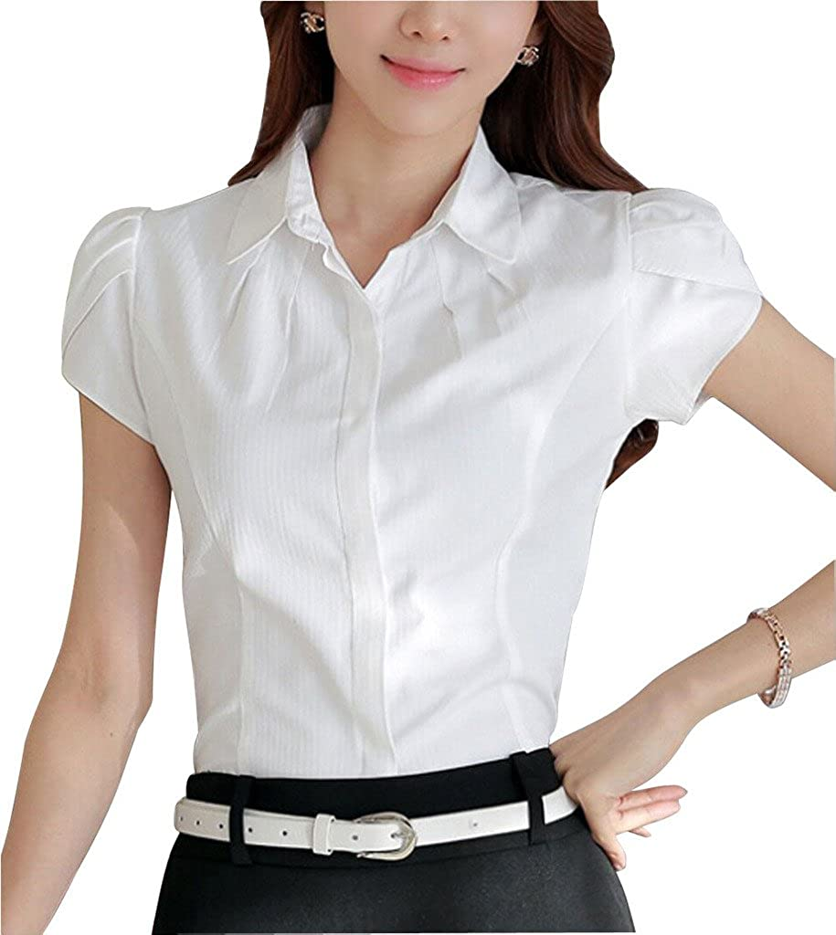 Vintage & Retro Shirts, Halter Tops, Blouses DPO Womens Cotton Collared Pleated Button Down Shirt Short Sleeve Blouse $19.98 AT vintagedancer.com