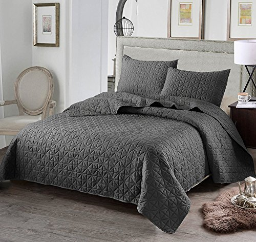 Exclusivo Mezcla Luxury 3-Piece Reversible Quilt Set with Shams, as Bedspread/Coverlet/Bed Cover, Solid Steel Grey, Full/Queen Size(92″X88″) -Soft, Lightweight and Hypoallergenic