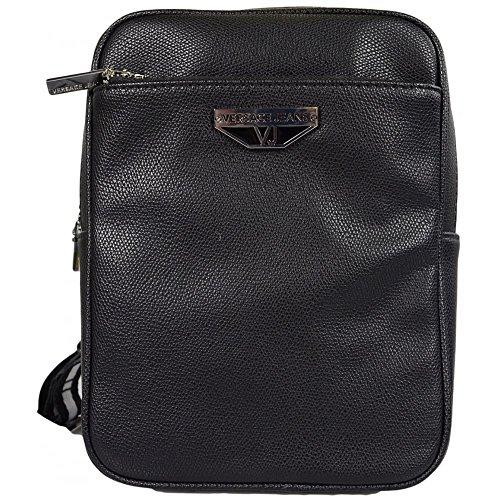 Versace Jeans E1YRBB 3270088 Metal Logo Black Leather Side Bag One - Men Bag Versace