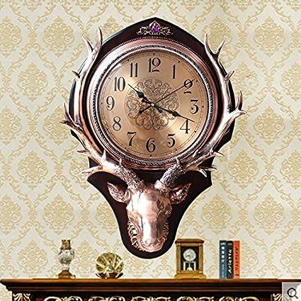 OLILEIO Salón de estilo europeo Reloj de pared Reloj vintage ciervo creativo American Silent Watch reloj