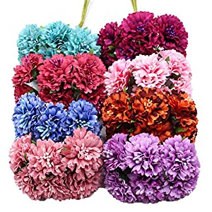 Miao Express Marigold 6pcs/Bunch 3.5cm Mini Daisy Flower Bouquet Artificial Flower Wedding Decoration DIY Craft Home Decoration Accessories 87