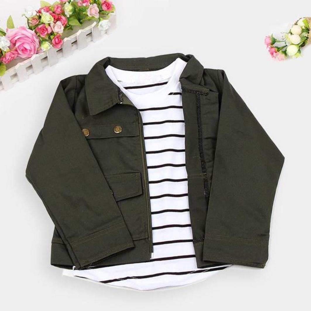 PHOTNO 3 Pieces Suit Outfit For Toddler Girls Long Sleeve T-Shirt Tops+Coat Jackett+Long Pants Clothes Outfits (2-6T) (120 (5T), Army Green) by PHOTNO (Image #6)